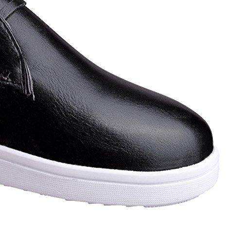 Mélangee Matière Noir à AgooLar Rond Femme Unie Bas Couleur Chaussures Légeres Talon Lacet qwBACBE