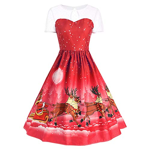 LOPILY Damen Weihnachten Kleid Christmas Kleid Dress Weihnachtsfrauen Kurzarm O Hals Druck Vintage Kleid Abend Party Kleid