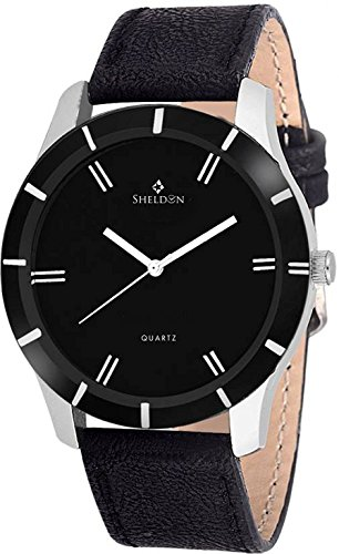 Sheldon Black Leather Analog Watch For Men SH-1005