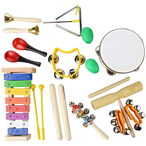 REFURBISHHOUSE�20 Pcs Toddler & Baby Musical Instruments Set - Percussion Toy Fun Toddlers Toys Wooden Xylophone Glockenspiel Toy Rhythm Band Set, Percussion Set for Kids of All Ages