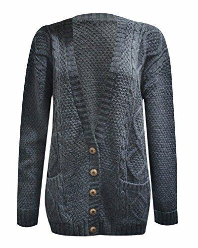 fashionchic Donna a maniche lunghe pulsante Chunky cavo maglia Aran nonno Boyfriend Casual Cardigan Taglia 8101214 Charcoal M/L (44/46)