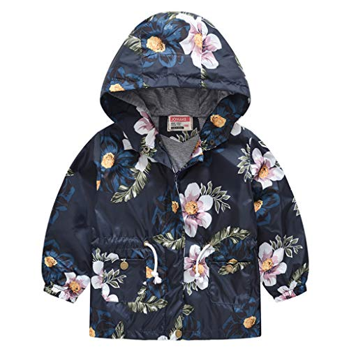 Obestseller Unisex Kinderjacke Floral Langarmjacke Baumwolle Kapuzenjacke Warme Winterjacke Reißverschluss Dicker Hoodie Geeignet für 1-8 Jahre (2020 Jahr Weihnachten)