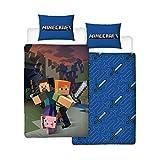 100% officiel Minecraft marchandise réversible 2 en 1 Design caractéristiques Alex, Steve et Baby Pig idéal pour tous les fans Minecraft! housse de couette taille approx: 135cm x 200 cm taie d'oreiller taille ap...