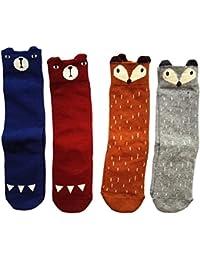(Pack de 4 pares) Animales Zorro Oso Calcetines Zapatos Antideslizantes para bebés niños niñas algodón rodilla calcetines altos 1-4 años