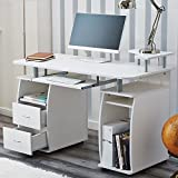 RayGar White Deluxe Design Computer Desk With Shelves and 2 Drawers For Home Office Table Workstation - New (White)