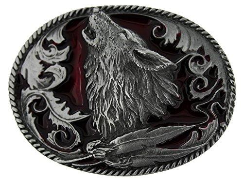 Howling Wolf Gürtelschnalle in einer meiner Präsentationsschachteln. (Gürtelschnalle Wolf)
