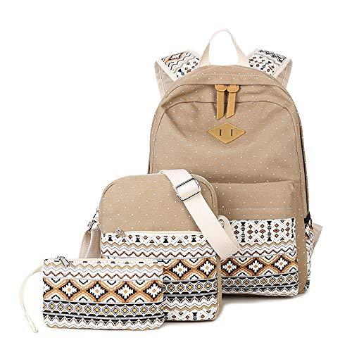 Schultasche Rucksack Set Teen Mädchen Tasche mit Lunchpaket Tasche und Federmäppchen Laptoptasche Große Kapazität La Femme Designer