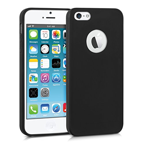 kwmobile Funda de TPU silicona chic para el Apple iPhone SE / 5 / 5S en negro mate