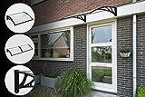 Vordach Überdachung Transparentes - 100 x 80 cm - UV-Polycarbonat und Aluminium - Schwarz / Transparent - Inklusive Befestigungsmaterial