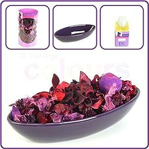 Coffret cadeau Violet-Pourri-Violet-Pot-Pourri-Bol &huile Parfumée