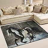 ingbags Super Weich Moderner Pferd Winter Schnee, ein Wohnzimmer Teppiche Teppich Schlafzimmer Teppich für Kinder Play massiv Home Decorator Boden Teppich und Teppiche 160x 121,9cm, multi, 63 x 48 Inch