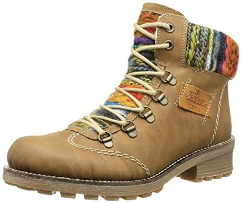 Rieker Z0443, Damen Halbschaft Stiefel, Braun (nuss/orange-multi/nuss/22), 42 EU (8 Damen UK)