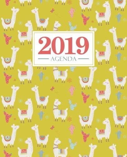 Agenda 2019: 19x23cm: Agenda 2019 settimanale italiano: lama e cactus rosso su giallo 5739