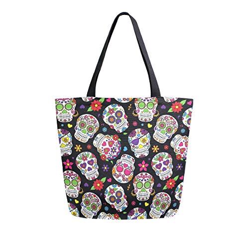 02c6b01ce9fb Naanle bolsa de lona con calavera para mujer, bolso de hombro casual,  reutilizable, multiusos, bolsa de algodón para compras al aire libre