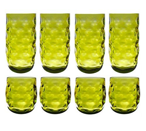 QG Colorful klar Acryl Kunststoff 14und 23Oz Trinkbecher Glas Trinkglas-Set von 8grün (Unzen 8 Acryl-gläser)