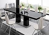 super-furniture24_eu Esstisch LINOSA-2 Tisch Ausziehbar in Super Hochglanz Acryl (Grau Hochglanz/Schwarz Hochglanz)