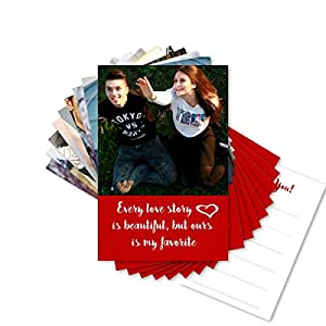 Clixicle Customized Love Cards - Set of 9 Cards - Gift for Valentine, Friend (Red)