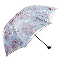 ManKn Umbrellas, Ladies Lace Parasol, Classic Design Triple Folding Umbrella, Sun Protection Umbrella, Travel Umbrella, Double Layer Sun Shade Anti-UV Protected For Young Teenagers, Girls, Women, Lady (Light Blue)
