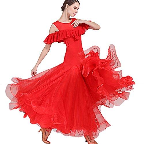 Kleid für Frauen Performance Spiel Kostüm Ärmellos Lotus Blatt Professionel Ballroom-Tanzabnutzung Große Schaukel, Red, XL (Professionelle Jazz Kostüme)