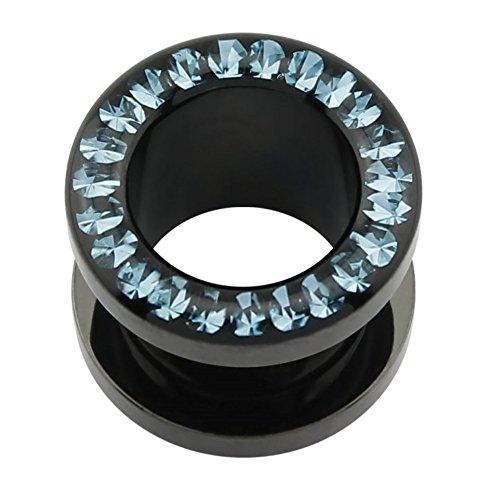 eeddoo Flesh Tunnel Blaue Kristalle Schwarz Acryl 6 mm