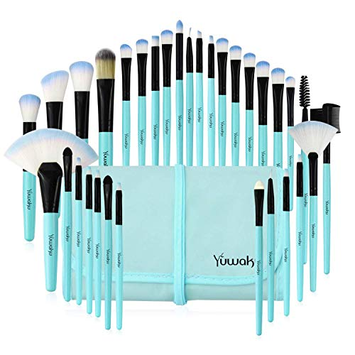 32Pcs Makeup Pinsel set, Kosmetikpinsel Lippen Foundation Eyeshadow Gesicht pinsel Augen pinsel Lidschatten Brush with Blau Nylon tasche
