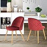 Sillas de comedor Coavas asiento blando cojín de terciopelo y la espalda con las piernas de madera de estilo de metal resistente para comedor y sillas de la sala, juego de 2 Burdeos