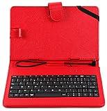 Etui 7 POUCES rouge + clavier intégré AZERTY pour tablette Auchan Qilive Q4 Android...