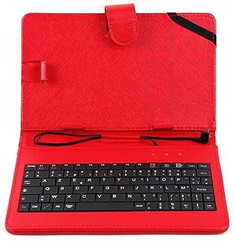 Stand rouge avec clavier intégré AZERTY pour Smartphone Samsung Galaxy Note 3 / 4 / 5, S5, S6, S6 Edge, S6 Edge+ et autres + stylet tactile BONUS, par DURAGADGET