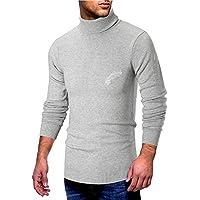 Msliy Jersey Hombre Invierno, Jersey Básico Suéter Prendas de Punto Sudadera Casual con Alto Cuello Estampado de Pluma Jerséis Elegante para Hombre Otoño Invierno Ropa