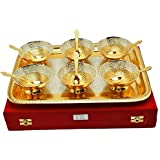 Royal Silver And Gold Brass Flower Embossed Bowl And Tray-Set Of 13 Dry Fruit Serving Set