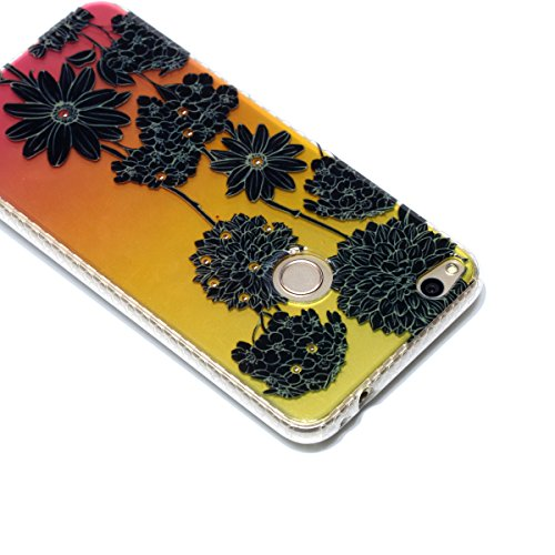 Cover Huawei P8 Lite 2017, Custodia Huawei P8 Lite 2017, Cozy Hut Premium Beautiful IMD Craft Gradient Color Design per Huawei P8 Lite 2017 Cover Custodia Silicone Transparente Pulire Stampa TPU Back  Crisantemo nero