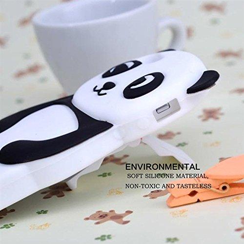 3D Mignon Panda Coque pour iPhone 7 Plus étui de Protection Housse,MingKun iPhone 7 Plus 5.5 Pouces Case Cover TPU Silicone Coque Haute qualitie Silicone Confortable Doux au Animé Animal Style Couvert Panda-Noir