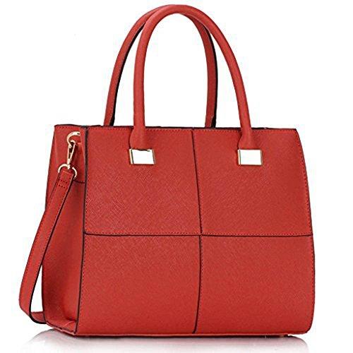 TrendStar Damen Der Frauen-Handtasche Umhängetaschen Konstrukteur Mode Promi-Stil Kunstleder Rot 2