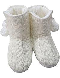 En Tricot pour femme bottes Chaussons en tricot avec pompon blanc