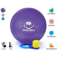 Winmax Exercise Ball 75cm Extra Thick Anti-Slip Anti-Burst Swiss Ball Chair Supports 2000lbs Birthing Ball with Quick Pump for Yoga Pilates Fitness Physical Therapy Gym and Home