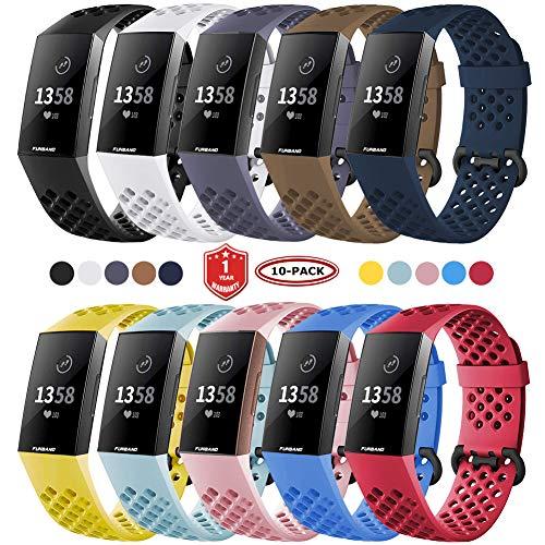 FunBand für Fitbit Charge 3 Armband,Atmungsaktiv Verstellbares Ersatz weiches Silikon Sporty Wrist Strap Band Armbanduhr Uhrenarmband Schlaufe Armbänder für Fitbit Charge 3 Smartwatch