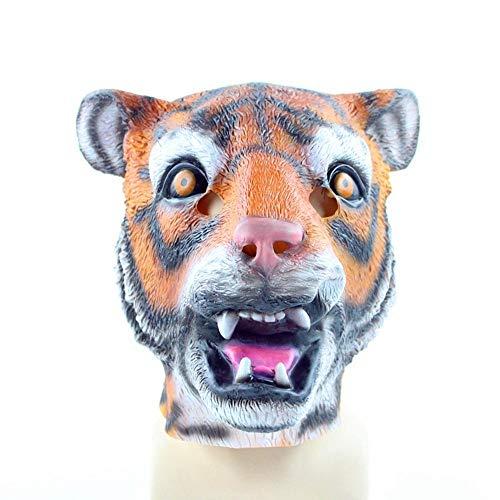 QJKai Latex Tiger Maske Prom Makeup Halloween Maske Tier Performance Requisiten