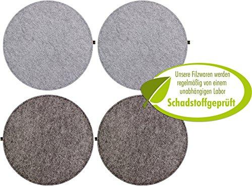4er Set Filz Sitzkissen rund 35cm, 2-farbig dunkelgrau / graumeliert zum Wenden. Gepolstert, bei 30°C waschbar, für Innen und Outdoor. Original Luxflair. (Esszimmer Set Bank)