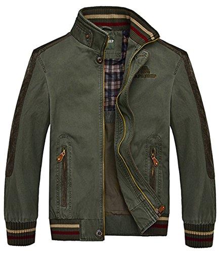 YYZYY Herren Klassische Baumwolle Stehkragen Frühling Herbst Militär Bomber Feld Jacken Mäntel Mens Military Jacket