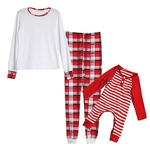 Christams Mamma und Baby-Familien-zusammenpassende Kleidung scherzt neugeborenes gestreiftes Spielanzug-Mutter-langes Hülsen-T-Shirt lange Hosen durch (Kostüm Alte Dame Nachthemd)