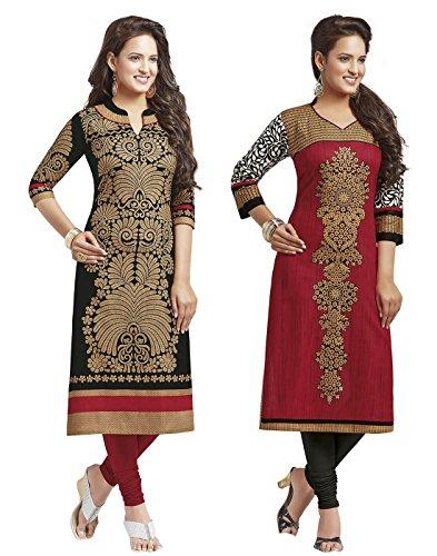 Jevi Prints Women's Cotton Kurti Dress Material(SAHELI-1204-1225_Black_Free Size)