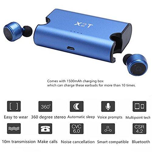 SETAYO X2T Mini Bluetooth sans fil vraiment invisible V4.2 stéréo surround écouteurs audio écouteurs intra-auriculaires avec chargeing Box 1500mAh Bleu