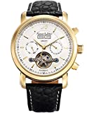 KS Herren Armbanduhr Uhren für männer Automatische Mechanische Edelstahl Leder Armband Lederband Tourbillon Uhr Gold Blau KS371