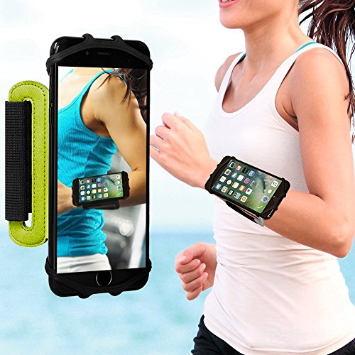 Huawei Sport Handy Armband, Life&Tech Universal Sportarmband für Smartphone iPhone 7, 7 Plus, 6S, Samsung S8, S8 Plus, S7 Edge, Galaxy S5, Huawei P9,xperia z5, 4 zoll 4.8 zoll 5.5 zoll 6 zoll,180° Drehbar Oberarm Handytasche für Joggen Laufen Radfahren Wandern(Handgelenk, Grün)