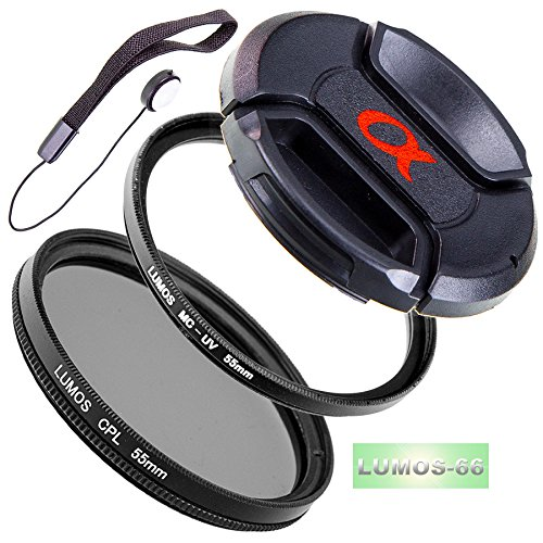 LUMOS Starter 55mm Filter Set Objektiv Zubehör uneingeschränkt kompatibel mit Sony Standardzoom Objektiv Sony DT 18-55mm 3.5-5.6 SAM II SAL18552 / an Kamera Alpha 58 68 77