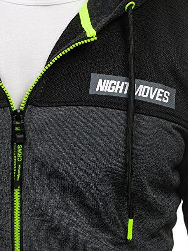 BOLF – Sweat-shirt – Manches longues – Fermeture éclair – Homme Noir