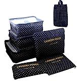 ITraveller 7 Stück Set-3 Verpackungs Würfel+3 Beutel+1 shoes bag Kompresse Ihre Kleidung während der Reise(7 pcs Wellenpunkt)
