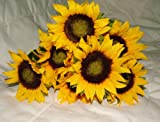 """Beautiful Artificial Sunflower Bush with 7 Heads / 4"""" blooms - Home Wedding Anniversary Grave"""
