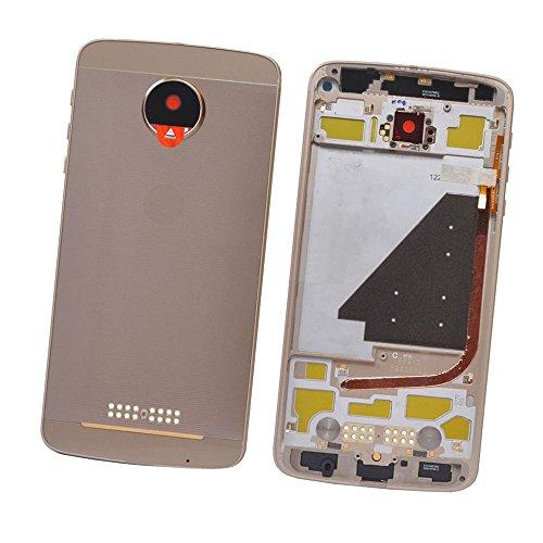 SOMEFUN Pieno Copri Batteria Back Cover Ricambio Batteria Vano Coperchio per Moto Z Droid XT1650-03/05 + Supporto Dual Sim Card + Obiettivo della fotocamera (oro)