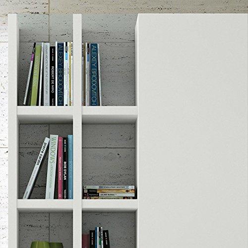 Wohnwand Bücherregal CD DVD Regal TOLEO238 weiß lackiert LED - 3